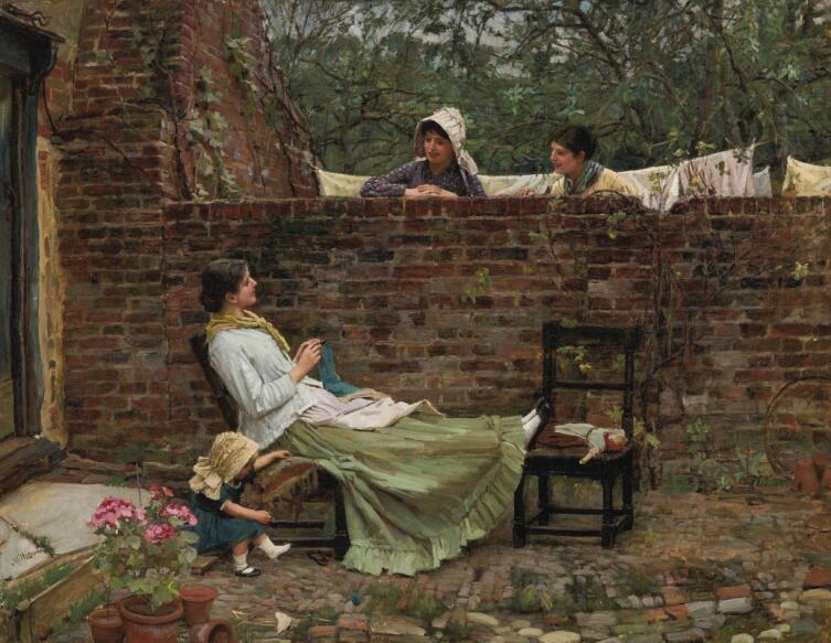 Джон Уильям Уотерхаус, «Хорошие соседи (Сплетницы)», 1885 г.