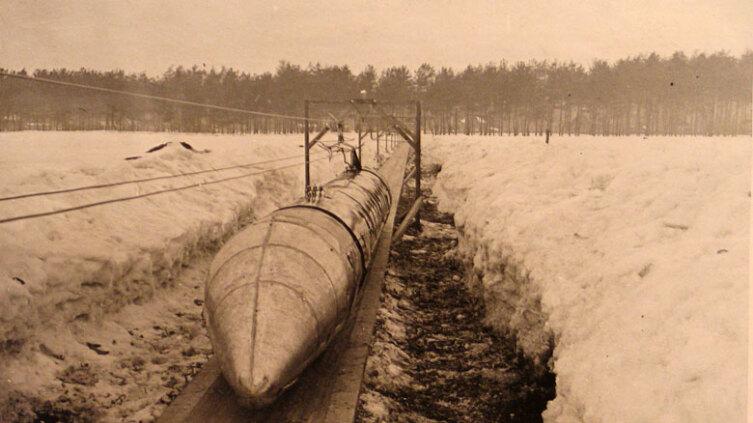 Общий вид шаропоезда конструкции Н. Ярмольчука, 1932 г.