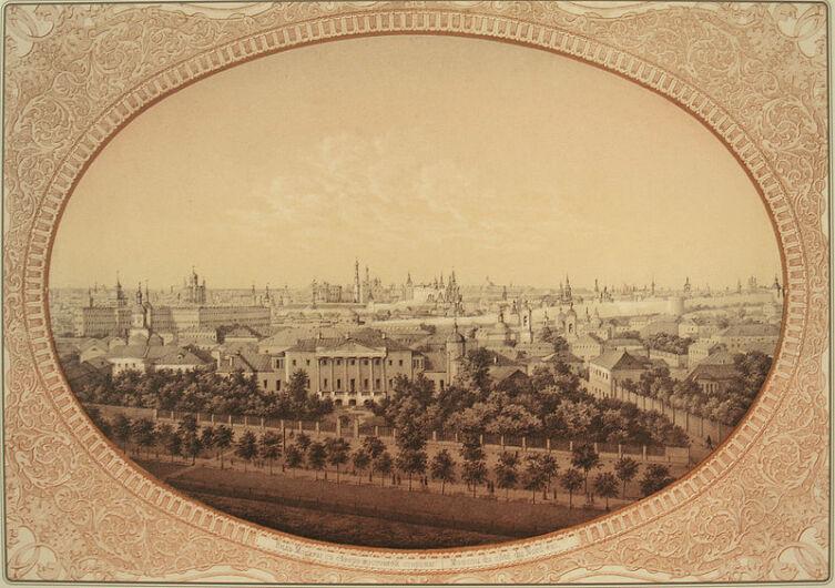 Усадьба Н. З. Хитрово на литографии 1856 г. с рисунка В. Ф. Тимма