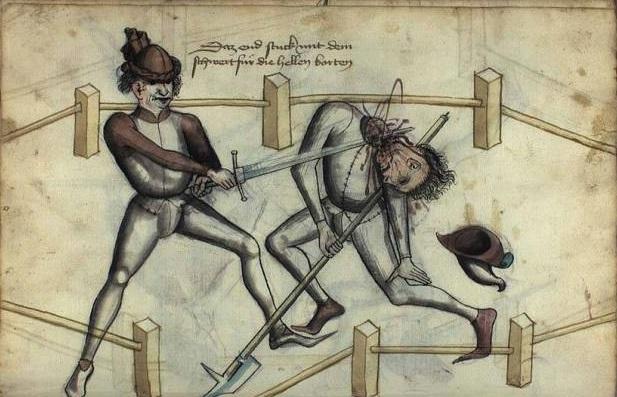 До безопасного спорта ещё идти и идти (рисунок из трактата Ханса Тальхоффера, ХV век)