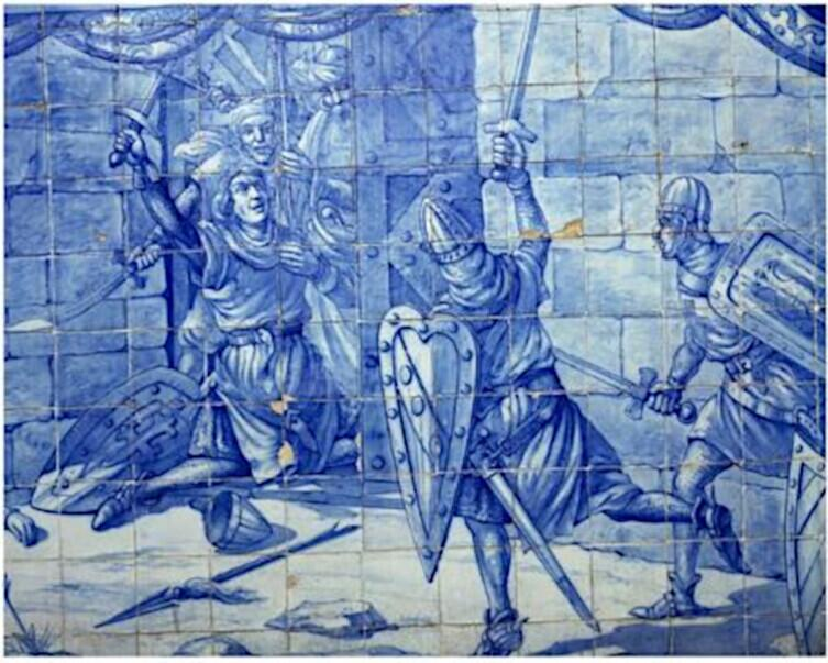 Подвиг Мартина Муниша, изображённый на керамической плитке, азулежо, на стене церкви Санта-Люшия в Лиссабоне