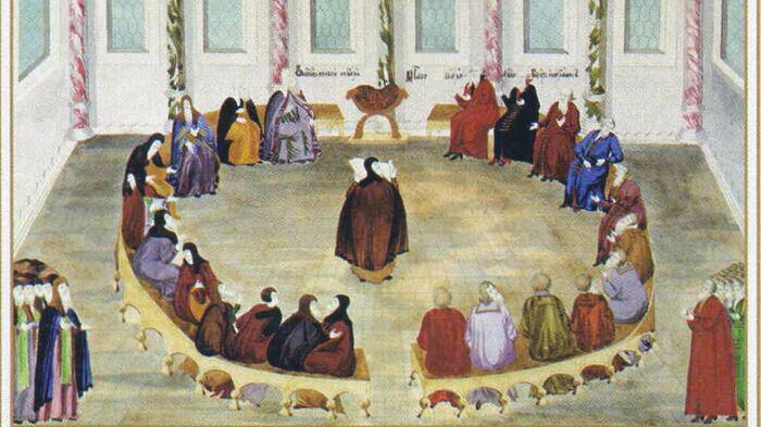 Провозглашение Авраамием Палициным решения земского собора об избрании на царство Михаила Федоровича Романова