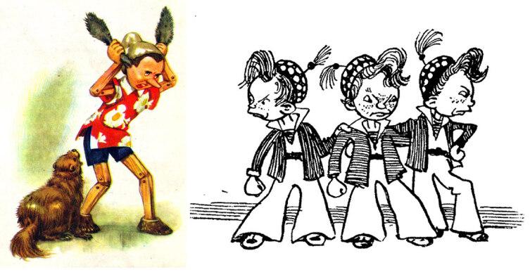 Слева рисунок к сказке «Пиноккио» (худ.Maraja Libiko, скан из книги); справа— к сказке «Незнайка в Солнечном городе» (худ.А. Лаптев, скан из книги)