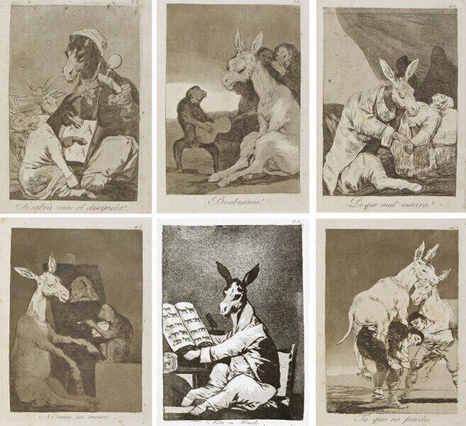 Франсиско Гойя, серия «Капричос». Справа налево сверху вниз: «А не умнеели ученик?», «Брависсимо!», «От какой болезни он умрет?», «Точь-в-точь», «Вплоть до третьего поколения», «Ты, которому невмоготу»