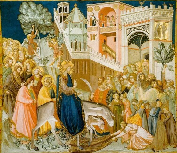 Въезд Христа в Иерусалим. Слева— фреска Пьетро Лоренцетти (1320) и галицкая икона (XIV век)