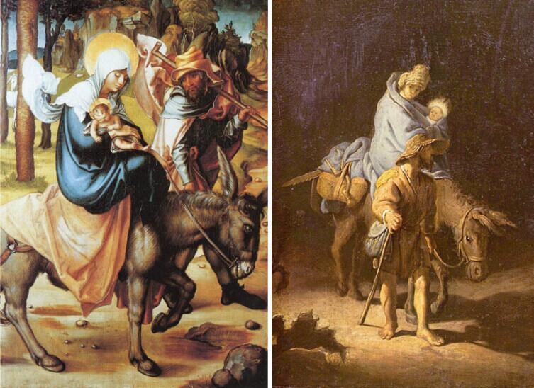 Бегство в Египет на картинах Альбрехта Дюрер 1494−1497 гг. (слева) и Рембрандта 1627г. (справа)