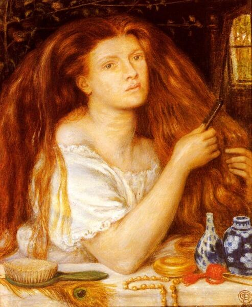 Данте Габриэль Россетти, «Золотые косы. Причесывающаяся женщина», 1865 г.