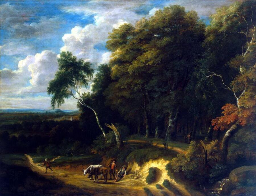 Жак д Артуа, «Пейзаж с погонщиками скота на дороге»