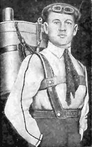 Глеб Евгеньевич Котельников с парашютом собственного изобретения
