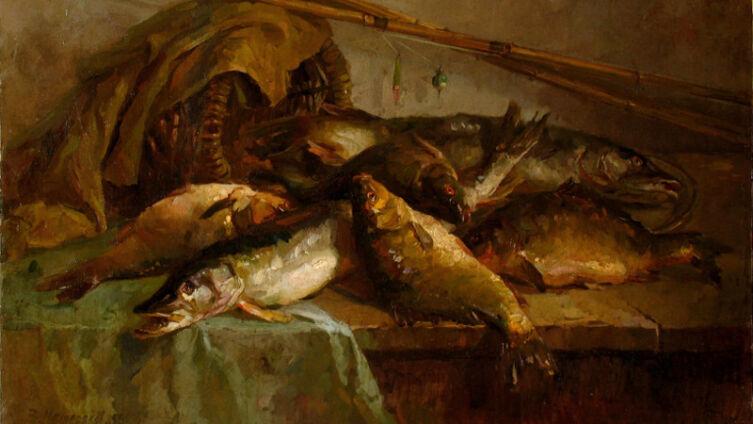 В. П. Мещеряков, «Натюрморт с рыбами», 1953 г.