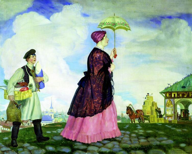 Б. М. Кустодиев, «Купчиха с покупками», 1920 г.
