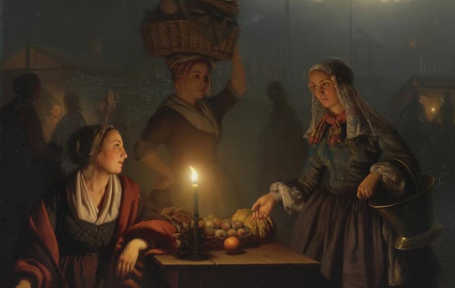 Петрус ван Шендель, «Покупка овощей и фруктов на ночном рынке» (фрагмент), 1867 г.