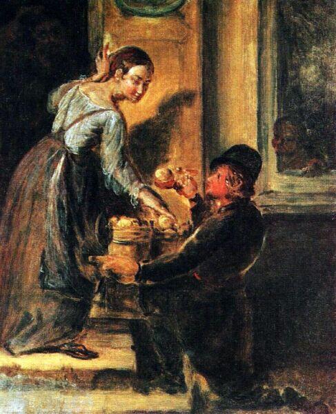 В. А. Тропинин, «Покупка яблок у разносчика», 1830-е гг.