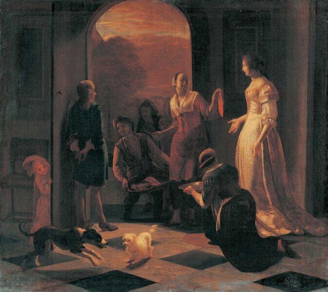 Якоб Лукас Охтервельт, «Покупка рыбы», 1680 г.