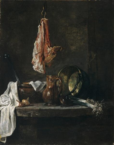 Жан Батист Симеон Шарден, «Натюрморт с ребром говядины», 1730 г.