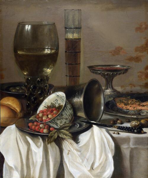 Питер Клас, «Натюрморт с земляникой и бокалами для напитков», 1649 г.