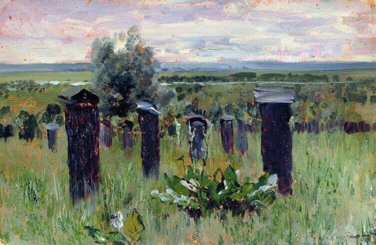 И. И. Левитан, «Пейзаж с ульями (Пасека). Этюд для картины