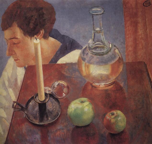 К. С. Петров-Водкин, «Свеча и графин», 1918 г.