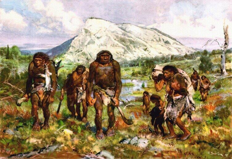 Картина З. Буриана. Неандертальцы