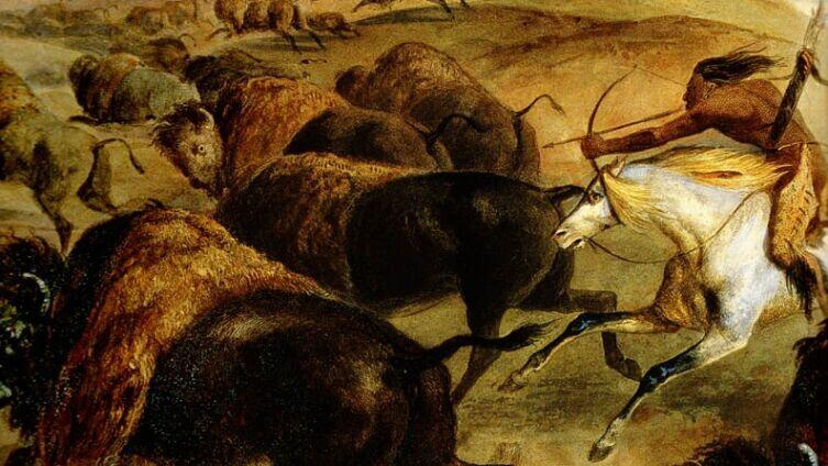 Карл Бодмер, «Индейские охотники на бизонов» (фрагмент)