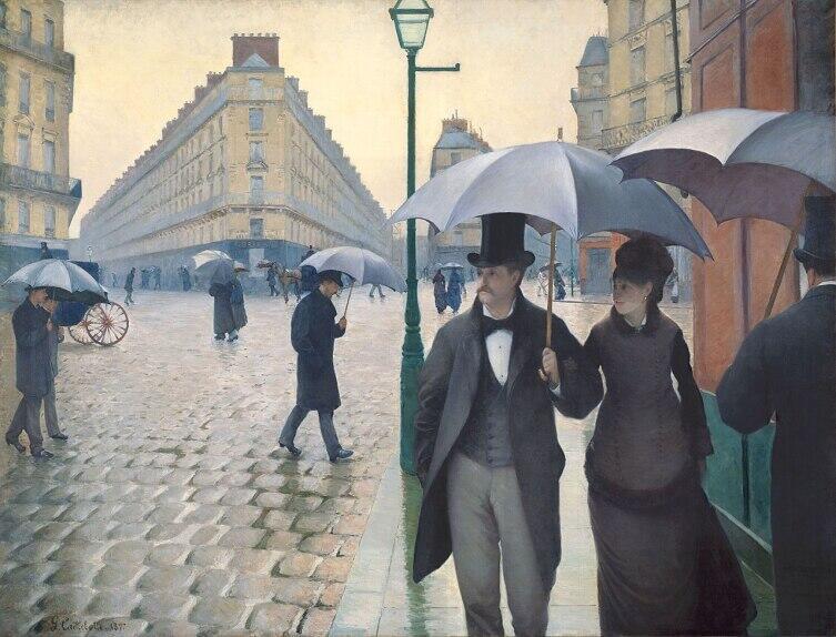 Гюстав Кайботт, «Парижская улица в дождливую погоду», 1877 г.