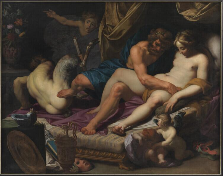 Абрахам Янсенс, «Геркулес прогоняет Фавна из кровати Омфалы», 1607 г.