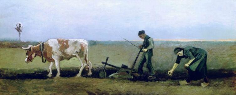Винсент Ван Гог, «Пахарь с женщиной, сажающей картофель», 1884 г.