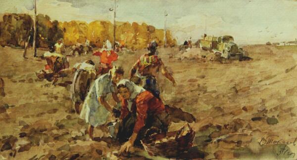 В. Ф. Токарев, «Сбор картофеля», 1951 г.