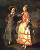 """В эпоху рококо и мужчины и женщины приобретают кукольный облик. Картина Д. Г. Левицкого """"Портрет Хованской и Хрущовой"""", 1773."""
