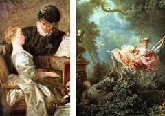 """Галантные картины Ж.О. Фрагонара - """"Урок музыки"""" и """"Качели"""". Направления взглядов обоих кавалеров более чем красноречивы."""