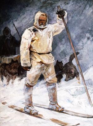 «Героический поход Фритьофа Нансена к Северному полюсу в 1895 г.» Картина И. П. Рубана из коллекции Российского Государственного музея Арктики и Антарктики