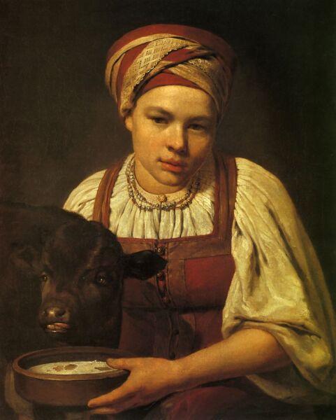 А. Г. Венецианов, «Девушка с теленком»