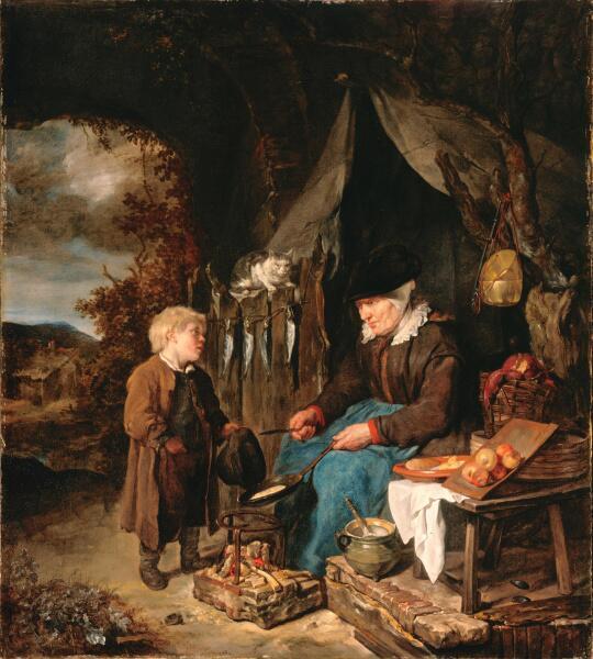 Габриель Метсю, «Мальчик и продавщица блинов», 1658 г.