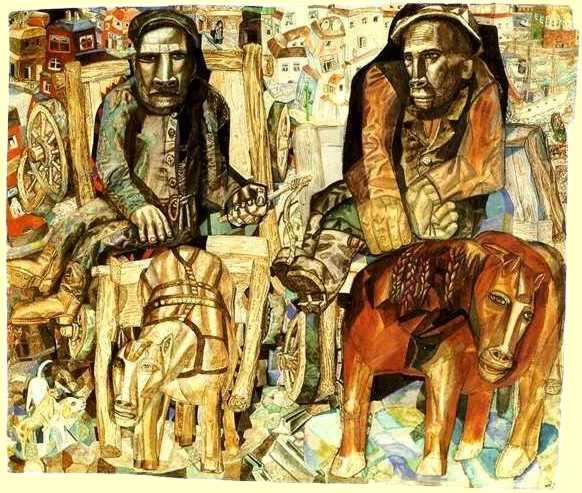 П. Н. Филонов, «Ломовой извозчик», 1915 г.