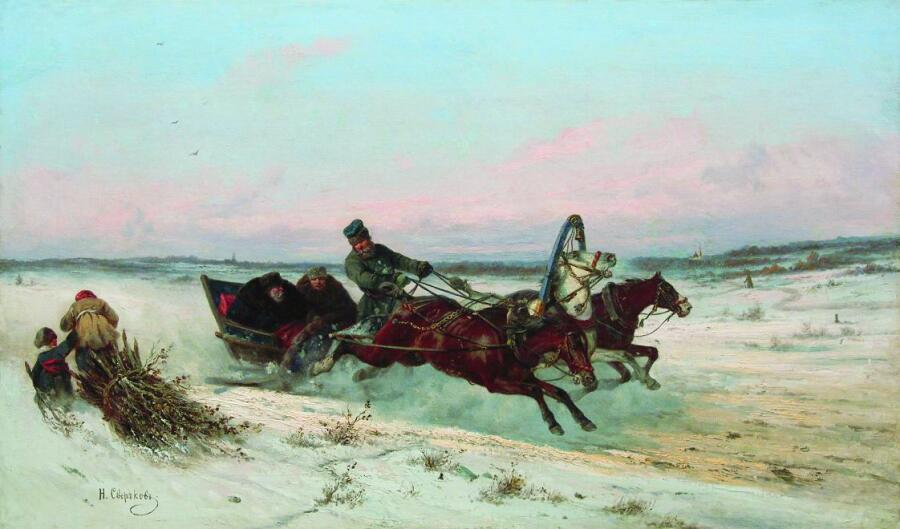 Н. Е. Сверчков, «Тройка зимой»