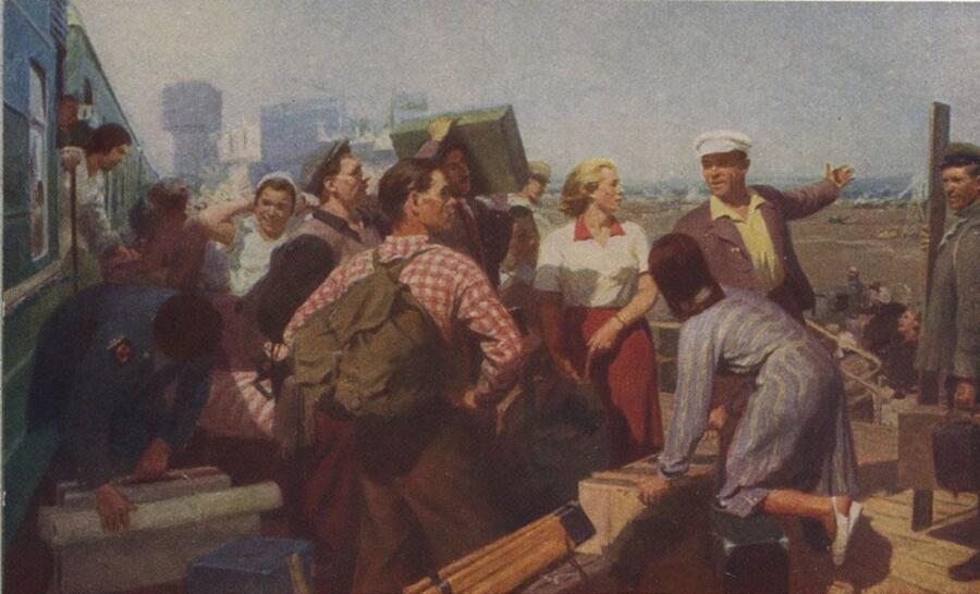 В. А. Ленивцев, «На стройке», 1953 г.