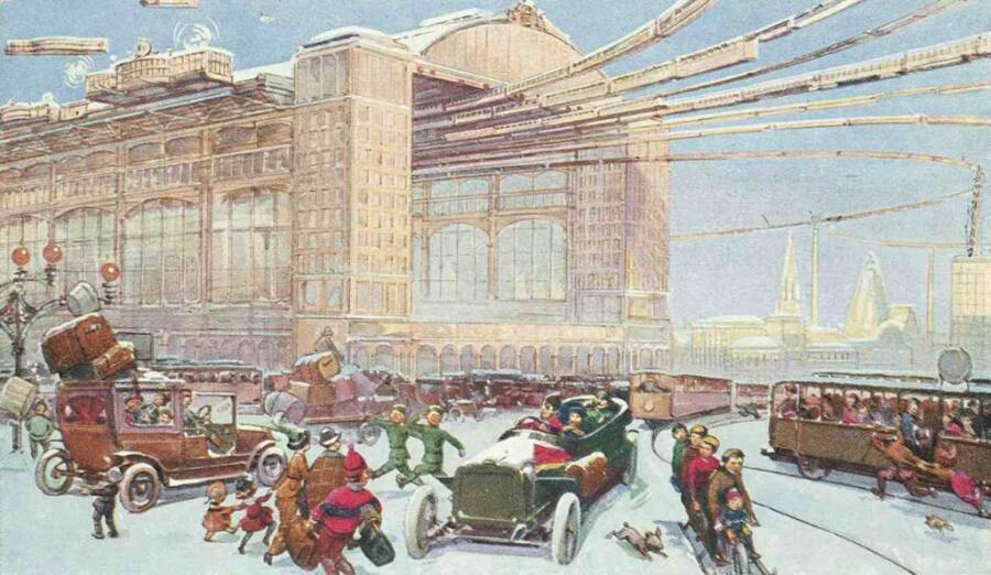 Москва в XXIII веке, открытка<br /> неизвестного художника по заказу московской кондитерской фабрики «Эйнемъ», 1914 г.