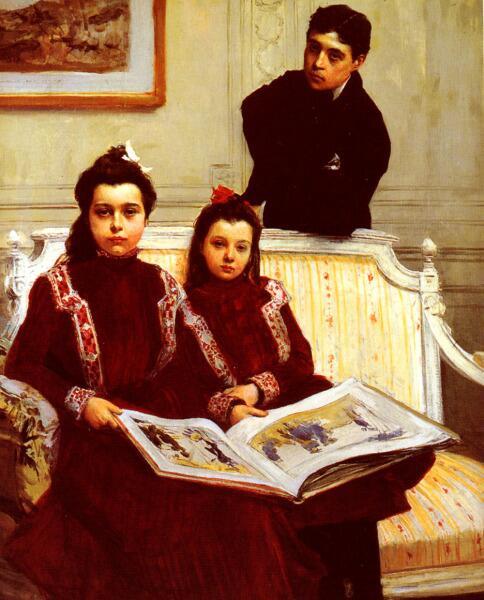 Франсуа Фламенг, «Фамильный портрет мальчика и двух его сестер»