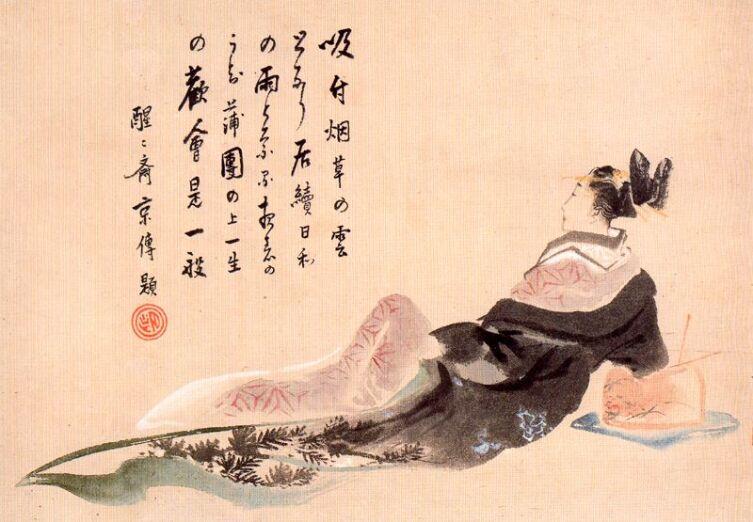 Кацусика Хокусай, «Отдыхающая гейша», 1770-е гг.