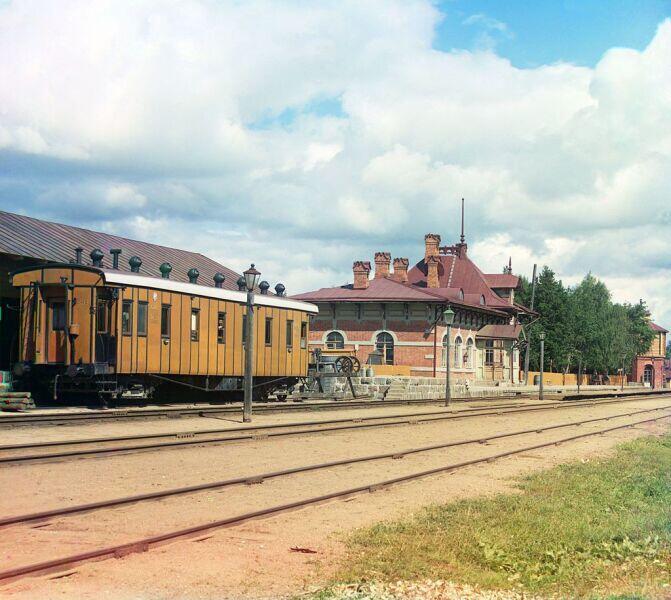 Пассажирский вагон на станции Бородино. 1911 год