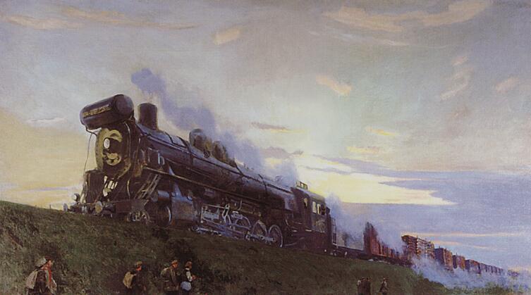 А. А. Рылов, «Сверхмощный паровоз», 1935 г.