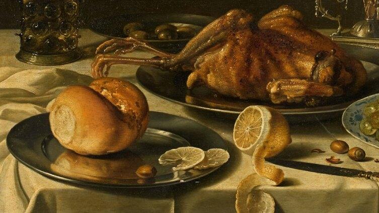 Питер Клас, «Натюрморт с жареным цыпленком, фруктами, солью и кувшином» (фрагмент), 1627 г.