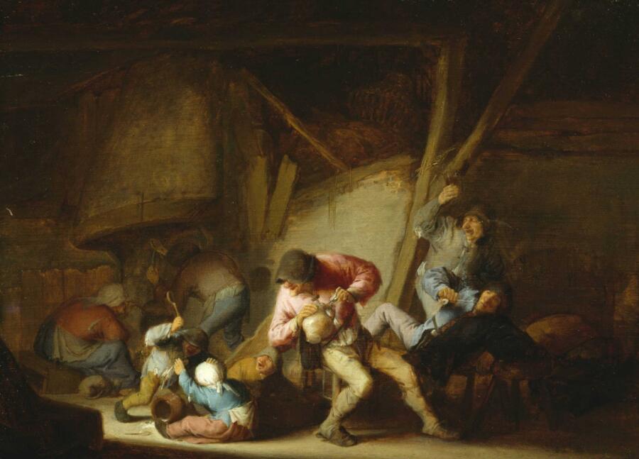 Адриан Янс ван Остаде, «Интерьер с пьющими крестьянами и дерущимися детьми», 1634 г