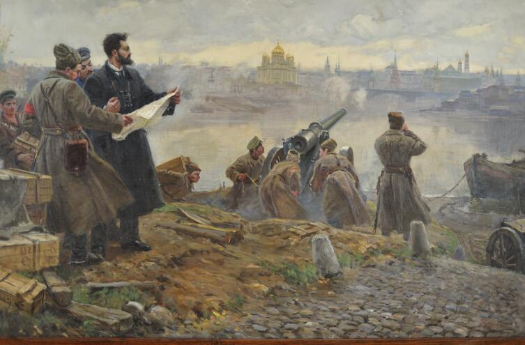 Большевики Замоскворечья во главе с Павлом Карловичем Штернбергом ведут артобстрел Кремля, ноябрь 1917 года