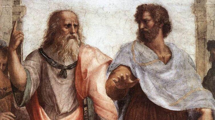 Рафаэль Санти, «Станца делла Сеньятура. Фреска «Афинская школа». Фрагмент: Платон (портрет Леонардо да Винчи) и Аристотель», 1511 г.