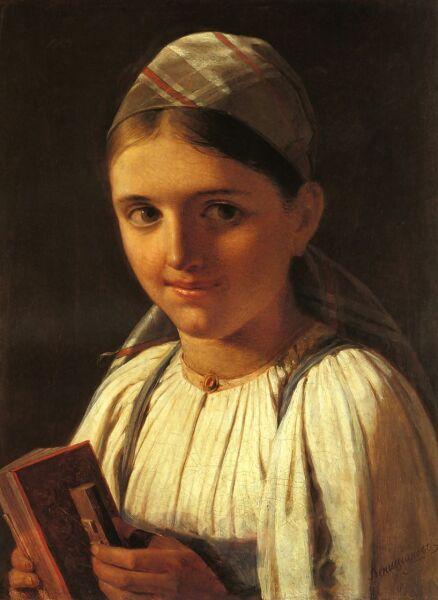 А. Г. Венецианов, «Девушка с гармошкой», 1840 г.