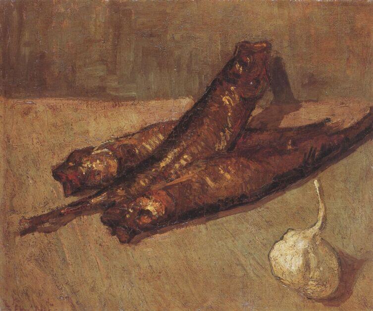 Винсент Ван Гог, «Натюрморт с копченой рыбой и чесноком», 1887 г.