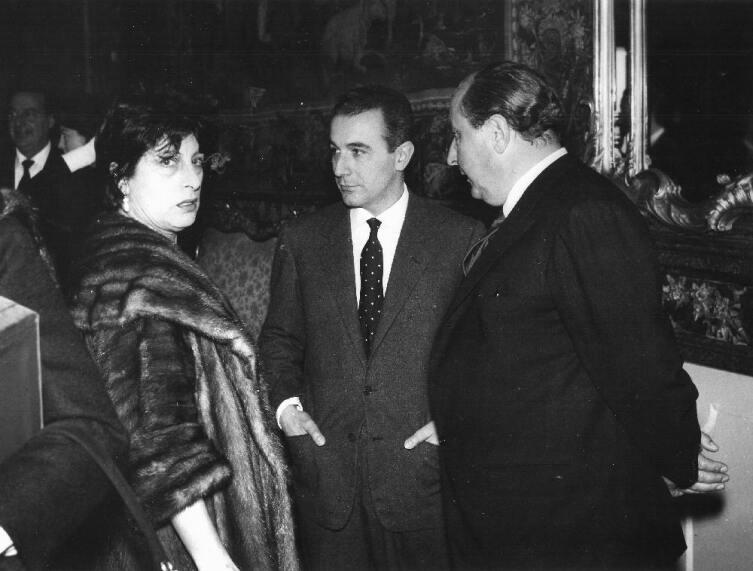 Гоффредо Ломбардо в центре, Анна Маньяни и Роберто Росселлини