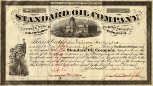 Купон Standard Oil, 1887 г.