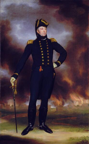 Джон Джеймс Холлс, «Контр-адмирал Джордж Кокбёрн на фоне горящего Вашингтона», ок. 1817 г.